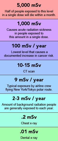 This chart shows how that amount of radiation exposure compares to other exposures, such as from x-rays, CT scans and normal background exposure.