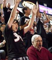 This young fan was thrilled when the Aztecs scored.