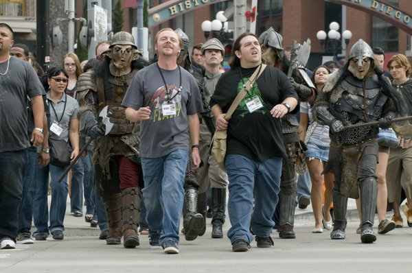"Simon Pegg and Nick Frost leading the Comic-Con brigade in ""Paul."""