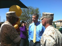U.S. Secretary of Education Arne Duncan speaks to military officials at Miramar Marine Corps Air Station during a San Diego visit on Wednesday.