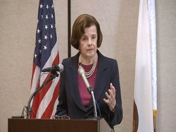 Senator Dianne Feinstein speaks during an appearance in downtown San Diego on March 23, 2011.