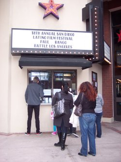 Theater-goers stand in line for tickets to the Latino Film Festival in San Diego, California.
