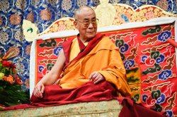 Dalai Lama speaking at an event, New York City, 2009.