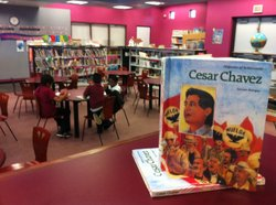 Literature on the life and legacy of Cesar Chavez are displayed in the library at Cesar Chavez Elementary School in San Diego.