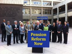 San Diego Mayor Jerry Sanders and supporters announce their pension reform measure on April 5, 2011.