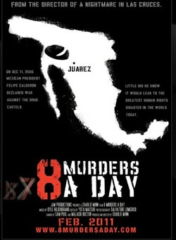 "Poster for the documentary ""8 Murders A Day""."