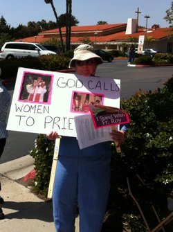 Sister Cora Weismantel protests for women's equality in the Catholic Church at Good Shepherd Church in Mira Mesa on April 14, 2011.