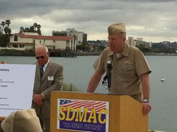 Adm. Bill French speaks during a news conference, while John Pettitt, president of the San Diego Military Advisory Council looks on, in San Diego, California on April 20, 2011.