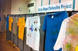 Dozens of T-shirts line a room in the San Diego Veteran's Affairs Medical Center as part of the Clothesline Project, on April 26, 2011.