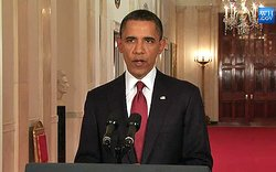 President Obama addresses the nation from the White House to announce that Osama Bin Laden is dead, on May 1, 2011.