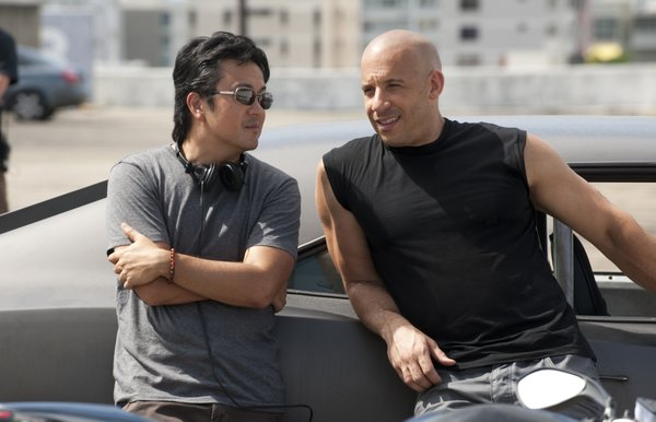 Director Justin Lin with star Vin Diesel.