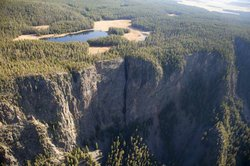 "Aerial view of Yellowstone National Park as seen in ""Above Yellowstone."""