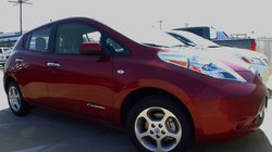 New Nissan Leaf parked in SDG&E parking lot.