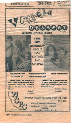 A flyer from one of the first plays staged by Diversionary at the gay disco West Coast Production Company.