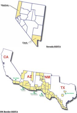 A map of counties in Nevada and the southwest identified as High Intensity Drug Trafficking Areas (HIDTA).