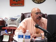 Mayor Raul Salinas, of Laredo, Texas, works in his office.