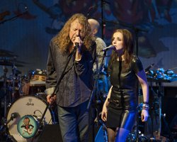 (l to r): Robert Plant, Marco Giovino (partial) and Patty Griffin perform on stage February 9, 2011, War Memorial Auditorium, Nashville, Tennessee