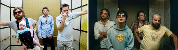 "Side by side comparison: 2009's ""The Hangover"" and 2011's ""The Hangover 2."" Can you spot the differences?"