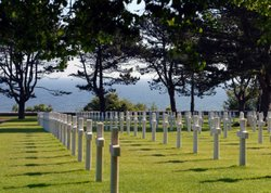 Rows of white crosses in the Normandy American Cemetery and Memorial mark the graves of the thousands of U.S. servicemembers who gave their lives during the D-Day invasion of June 1944.