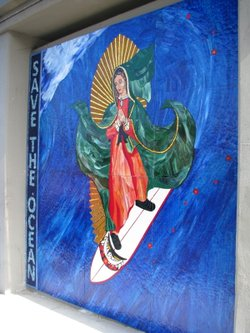 The Surfing Madonna mosaic under the railroad bridge at Encinitas boulevard
