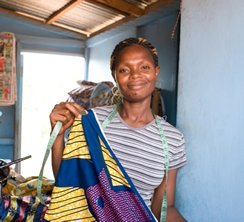Cecilia Dagadu has been a seamstress for 10 years.  With the help of WomensTrust, she is able to have her own shop and buy her own material.  Her next goal is to have a knitting machine.