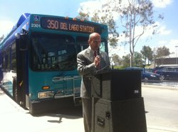 Escondido Mayor Sam Abed encouraged people to take a rapid bus to his city's Westfield shopping center and spend lots of money. He spoke at the opening of San Diego County's first fully developed Rapid Bus line. June 7, 2011.