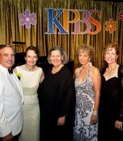Left to right: KPBS General Manager Tom Karlo, Julie Karlo, Honorary Chair Darlene Shiley, KPBS Associate General Manager Stephanie Bergsma, and Gala Chair Caroline Nierenberg.