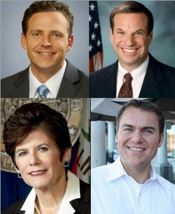 Mayoral Candidates (clockwise from top left): State Assemblyman Nathan Fletcher (R); Congressman Bob Filner (D); City Councilman Carl DeMaio (R); District Attorney Bonnie Dumanis (R).