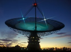 The Parkes Observatory is a radio telescope observatory 20 kilometres north of the town of Parkes, New South Wales, Australia. It is best known as the dish that sent images of the first moon landing to the rest of the world. 