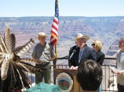 Interior Secretary Ken Salazar makes an announcement regarding uranium mining at the Grand Canyon.