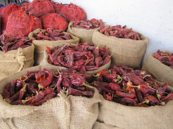 Dried red chile for sale at a shop in Hatch, New Mexico.