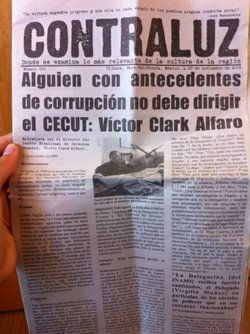 "The front page of ""Contraluz,"" a pamphlet produced by Tijuana's arts community, focusing on Virgilio Muñoz's past."