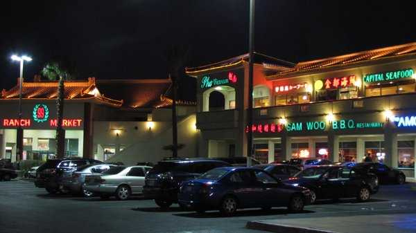 Chinatown Plaza, the very first of the Asian-themed shopping centers on Spring Mountain Road, is seen at night.