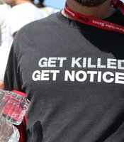 Cultural commentary via t-shirts at Comic-Con.