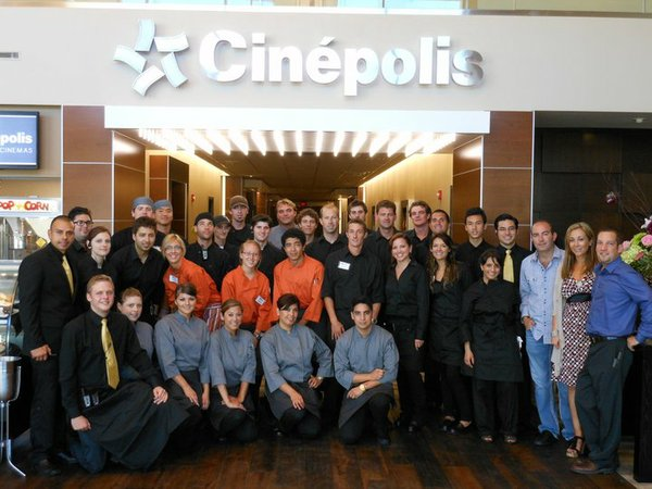 Carlos Wellman (on the right in jeans) with his staff at Cinepolis Luxury Cinemas.