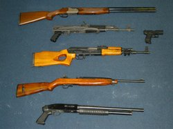 More than 30 guns, including assault rifles, were also seized by police.