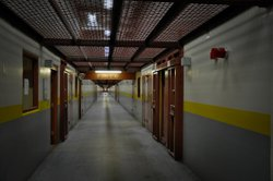 A view down SHU D corridor where inmates initiated what became the largest hunger strike protest in California prisons in a decade. The warden did not allow reporters access to these inmates.