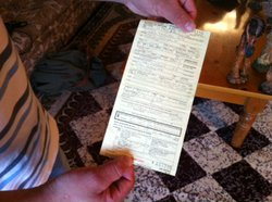 "An undocumented immigrant from the city of Escondido, CA, shows the ticket he received for a driving infraction which led him into deportation proceedings. Under DHS' new ""prosecutorial discretion"" guidelines, his case for deportation would likely be overturned."