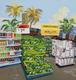 """Red Hot Specials..."" a large-scale painting by Jean Lowe was on view at ""Discount Barn"" (Enamel on wood panel, 2011)."