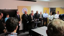 Mayor Sanders speaks at a press conference on Sept. 8, 2011 during the blackout that left all of San Diego County, parts of Orange and Imperial Counties, areas in Arizona, and northwest Mexico without power.