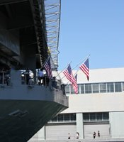 U.S flags draped throughout the USS Midway on September 11th. 