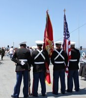 U.S Marines preparing for the Introduction of the Honor Guards