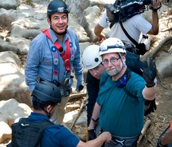 "Presdient Calderon and Peter Greenberg wave goodbye to friends and family before descent while filming ""Mexico: The Royal Tour"" at Sonata de los Golondrinas prior to descent."