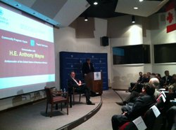 New U.S. Ambassador to Mexico, Earl Anthony Wayne, speaking to a full auditorium at UCSD's Institute of the Americas.