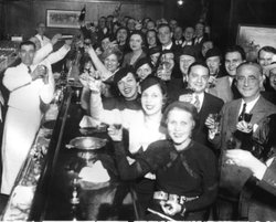 Chicagoans celebrate the repeal of Prohibition at the Congress Hotel on December 8, 1933. One lasting effect of Prohibition: men and women seen drinking together.