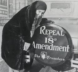 "A female ""Crusader"" poses in 1930. Women spurred the early temperance campaigns but eventually led the movement to end Prohibition, after its failures became obvious."
