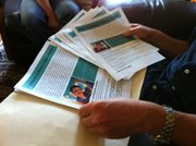 Richardson has printed flyers chronicling his son&#39;s abduction case, which he hands out to people outside the Mexican Consulate in San Diego.