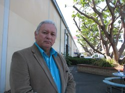 Mel Vernon, Captain of the San Luis Rey Band, outside the County Planning Commission Offices. Oct 7th, 2011.