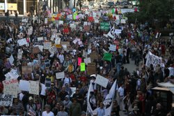 A large crowd marches as part of &#39;Occupy San Diego&#39; in downtown San Diego on Oct. 7, 2011.