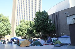 Protesters set up camp downtown in the Civic Theatre plaza as part of &quot;Occupy San Diego&quot; on Oct. 9, 2011.